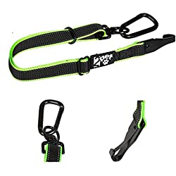 2PET Dog Seatbelt Strap Adjustable Dog Seat Belt for All Breeds - Use with Harness - All Car Makes - Carabiner Clip Leash - Green and Black