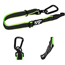 2PET Dog Seatbelt Strap by Adjustable Dog Seat Belt for all Breeds – Use With Harness – All Car Makes – Carabiner Clip Leash – Green and Black