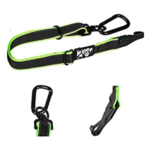 2PET Dog Seatbelt Strap Adjustable Dog Seat Belt for All Breeds – Use with Harness – All Car Makes – Carabiner Clip Leash – Green and Black 37
