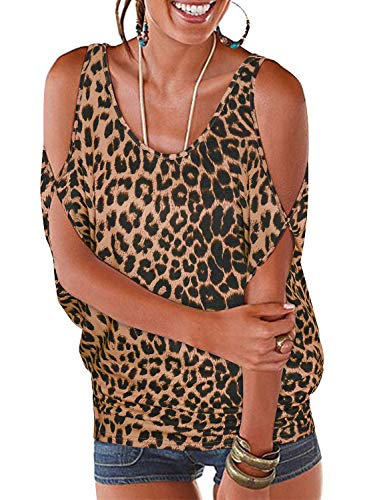 Top Hat Fashion - Ranphee Women's Leopard Summer Cold Shoulder Tops Casual Scoop Neck Short Sleeve T-Shirt