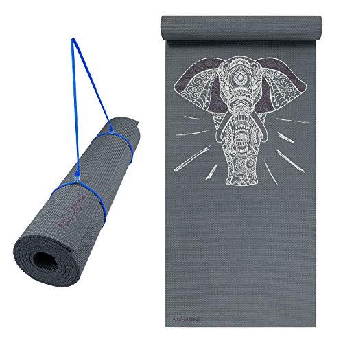 Aqui Legend Yoga Mat, Premium Print 6mm, Non Slip Exercise & Fitness Mat, Lightweight Anti-Tear for All Types of Yoga, Pilates & Floor Exercise with Carrying Strap (Ganesha Yoga Mat)