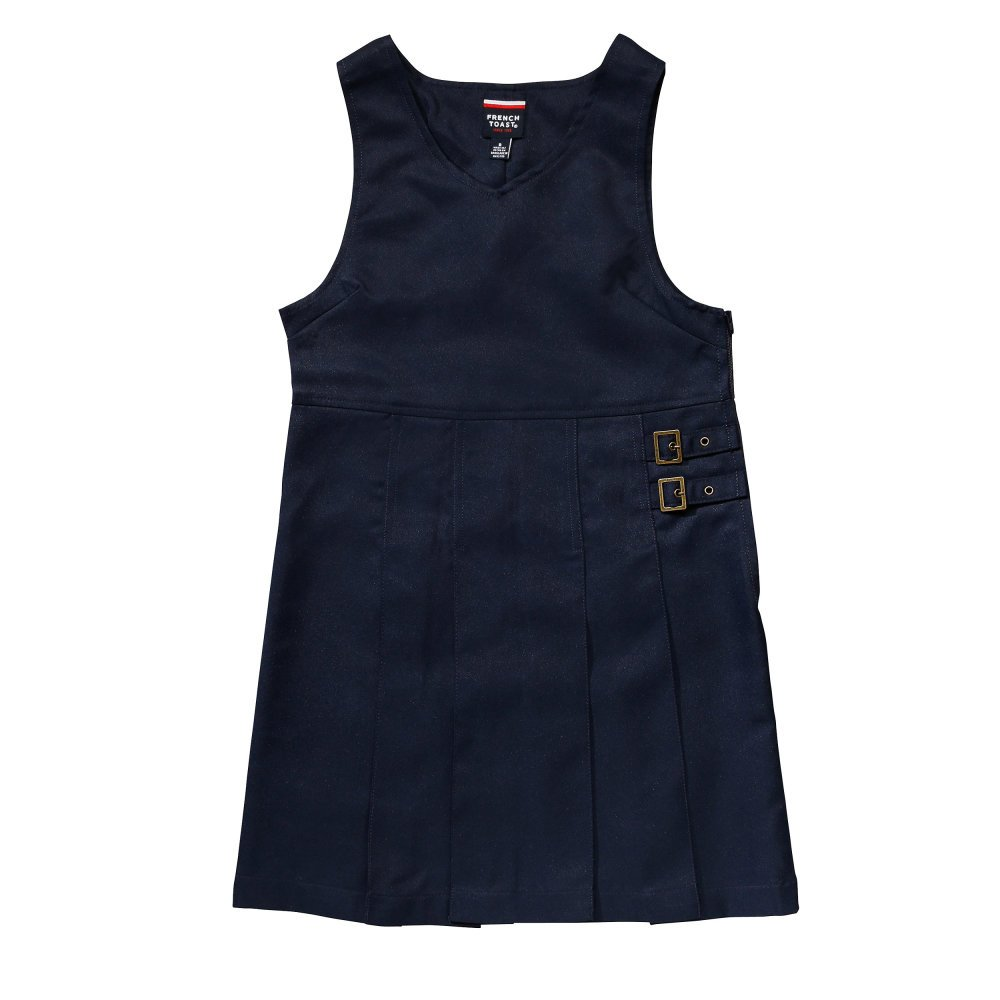 French Toast Big Girls' Double Buckle Tab Jumper, Navy, 8