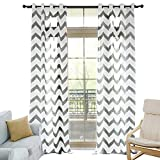 NAPEARL Faux Linen Semi-Sheer Living Room Window Curtain Panels Geometric Jacquard Design Set of 2 Pieces (52' Wx96 L, Black)