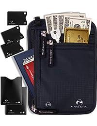 0552f79ba6 Neck Wallet Travel Pouch   Passport Holder - RFID Blocking with 5 Bonus  Sleeves