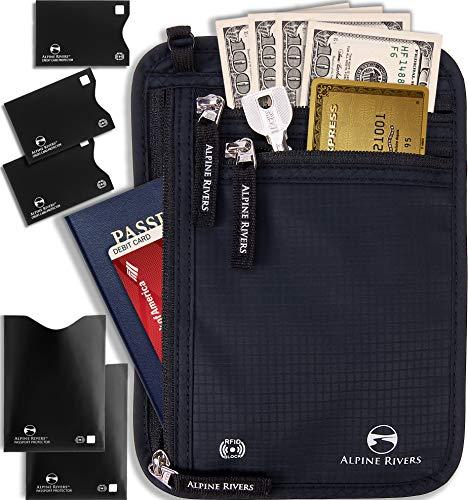 Neck Wallet Travel Pouch & Passport Holder - RFID Blocking with 5 Bonus Sleeves