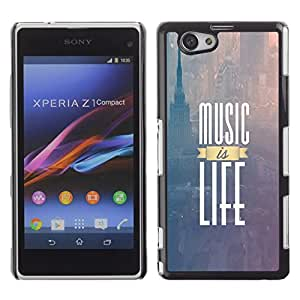 PC/Aluminum Funda Carcasa protectora para Sony Xperia Z1 Compact D5503 Music Is Life New York Text Purple Fog / JUSTGO PHONE PROTECTOR