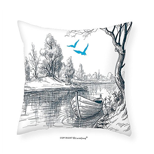 Petrol Plaid (VROSELV Custom Cotton Linen Pillowcase Lake House Decor Boat On Calm River Trees Birds Twigs Sketch Drawing Clipart Water Minimalistic Bedroom Living Room Dorm Decor Petrol Blue White 16
