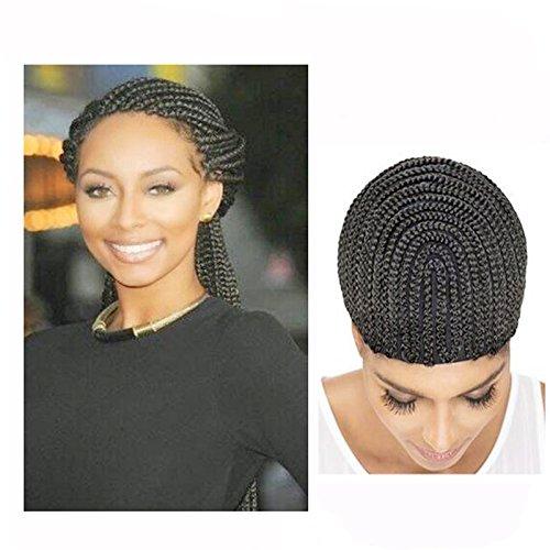 Wendy Hair Braided Crochet Cap Weave Cap Adjustable Crochet Wig Cap in Cornrow Braiding Weave Cap for Easier Sew In Caps Making Wig Black Color