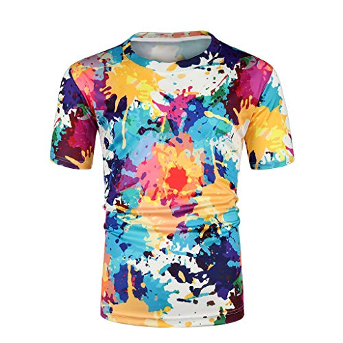 Allywit Unisex 3D Creative Colorful Print Short Sleeve T-Shirt Casual Graphic Tee ()