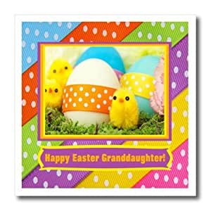 ht_174073_1 Beverly Turner Easter Design and Photography - Soft Yellow Chicks with Eggs and Dotted Ribbon, Happy Easter Granddaughter - Iron on Heat Transfers - 8x8 Iron on Heat Transfer for White Material