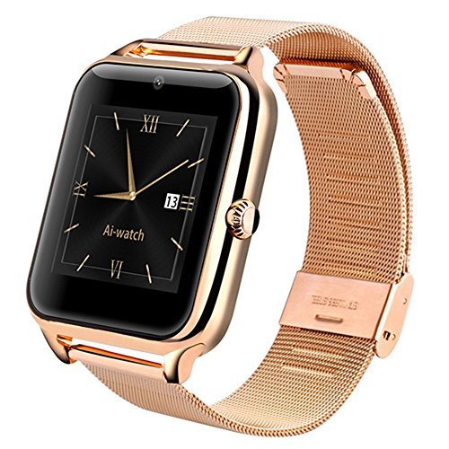 GreatCool Metal Bluetooth Smart Watch Phone Wristwatch with Sim Card Slot Camera for IOS Apple Iphone Android Samsung Smartphones with 2 Batteries
