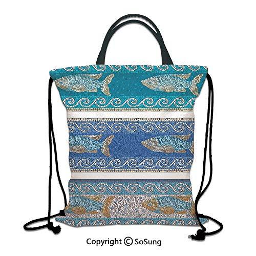 Mosaic Decor 3D Print Drawstring Bag String Backpack,Ancient Style Byzantine Ceramics Inspired Marine Fractal Fish Pattern Artwork,for Travel Gym School Beach Shopping,Slate Blue