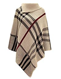 JZ Clothes Women's Checked Knitted Winter Poncho Red Band Wrap Shawl Cape
