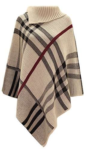 Women's Checked Knitted Winter Poncho Red Band Wrap Shawl Cape (One Size 8-14, Stone) (Plaid Poncho)