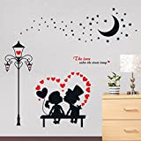 EMIRACLEZE Christmas Gift Fashion European Style Couple Lovers Street Lamp Lovely Removable Mural