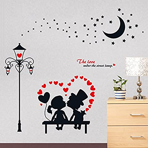 EMIRACLEZE Christmas Gift Fashion European Style Couple Lovers Street Lamp Lovely Removable Mural Wall Stickers (Vetro Peacock)