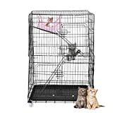 ErYao Shipped from US, Cat Playpen with Hammock, 3-Tier Kitten Cat Ferret Rabbit Cage, Foldable Rolling Cat Condo, Portable Metal Wire Cat Crate Kennels Pet Enclosure Bed,29.9 x 19.7 x 45.3' (Black)