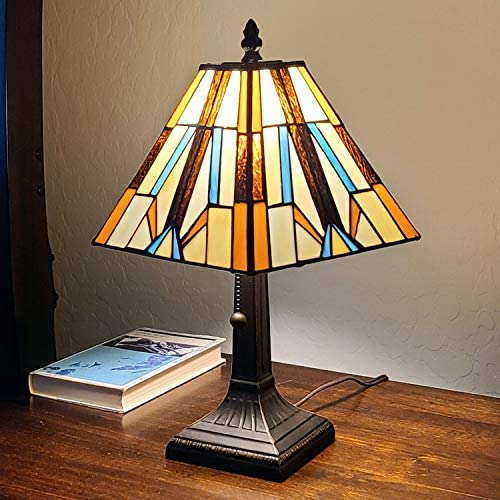 Amora Lighting Tiffany Style Mini Accent Lamp Brown Blue Cream Mission Bedside Nightstand Handmade Antique Vintage Pull Chain 15″ Tall 8″ Wide Gift AM100TL08B