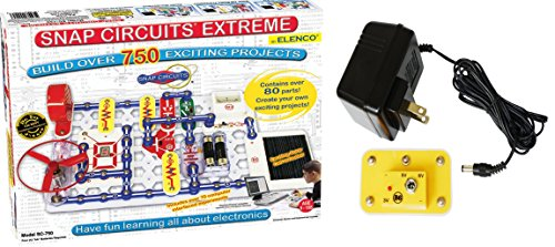 (Snap Circuits Extreme SC-750 Electronics Discovery Kit Deluxe Bundle with Battery Eliminator)
