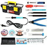 YaeTek Iron Kit Electronics, 16-in-1, 60W 110V Adjustable Temperature Soldering Iron, 5pcs Soldering Iron Tips, Solder, Rosin, Solder Wick, Stand and Other Soldering Kits in Portable Toolbox