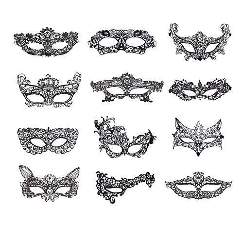 Coobey 12 Packs Masquerade Masks Black Lace Eye Mask Lady Sexy Venetian Party Masks for Women Halloween Party Costume Ball Prom (Halloween Masquerade Dress)