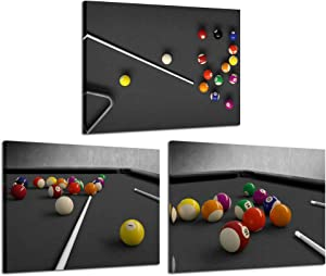 iKNOW FOTO Black and White Canvas Printed Wall Art Billiards Painting Snooker Shooting Pool Posters Pictures Giclee Printing Lounge Bar Decor Stretched and Framed Ready to Hang Home Billiard Room