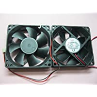 2 pcs Brushless DC Cooling Fan 12V 8025S 7 Blades 2 wire 80x80x25mm Sleeve-bearing Skywalking