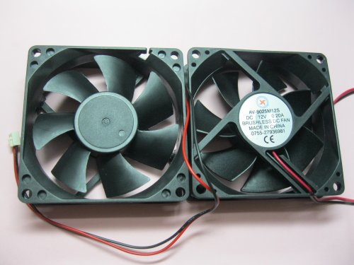 Volt Computer Sleeve - 2 pcs Brushless DC Cooling Fan 12V 8025S 7 Blades 2 wire 80x80x25mm Sleeve-bearing Skywalking
