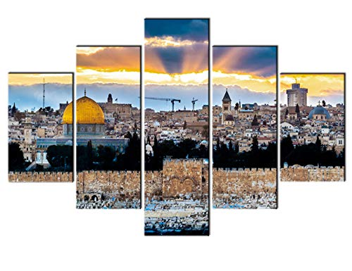 (Islamic Wall Art Decor Temple Mount Paintings Jerusalem Pictures 5 Pcs/Multi Panel Canvas Home Decor for Living Room Contemporary Artwork Giclee Framed Ready to Hang Posters and Prints(60''Wx40''H))