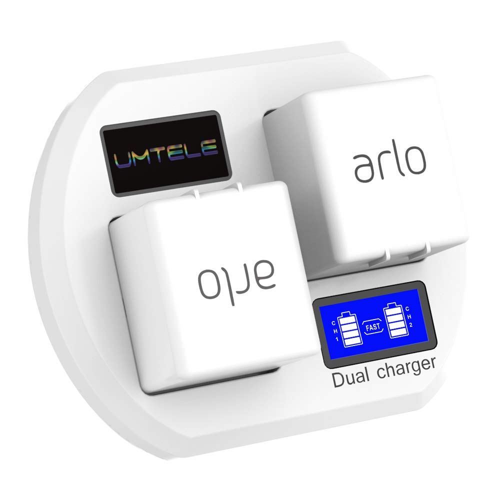 Fast Charging Station Compatible with Arlo Rechargeable Batteries, UMTELE Dual Charger Stand with LCD Display Compatible for Arlo Security Light & Arlo Pro & Arlo Pro 2 & Arlo Go Batteries - White by UMTELE