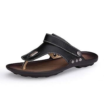 LXMEI - Sandalias de Playa y Zapatillas para Hombre de Piel, Zapatillas para Dedos de pie Cómodas y Transpirables, Tallas 36 a 46.