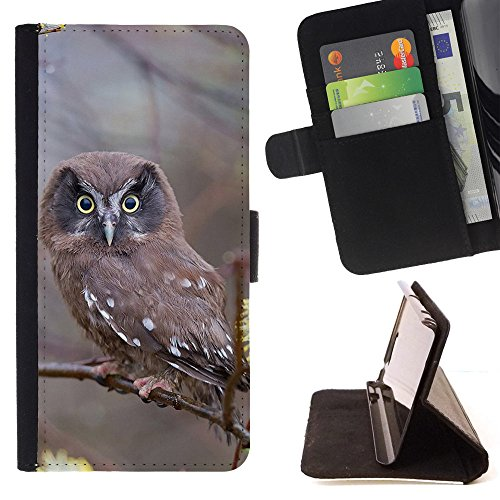 God Garden - FOR Apple Iphone 4 / 4S - Branches Nature Bird Owl - Glitter Teal Purple Sparkling Watercolor Personalized Design Custom Style PU Leather Case Wallet Fli