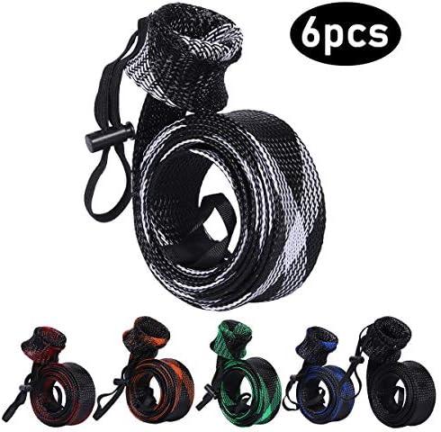 BB Hapeayou Fishing Rod Cover, 6Pcs Fishing Pole protect Sleeve Sock Braided Mesh for Fly, Casting, Sea Fishing Rod