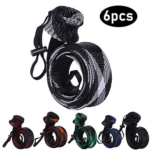 Fishing Rod Cover, 6Pcs Fishing Pole protect Sleeve/Sock/Braided Mesh for Fly, Casting, Sea Fishing Rod