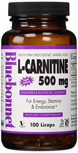 Bluebonnet L-Carnitine 500 mg Liquid Capsules, 100 Count by Blue Bonnet