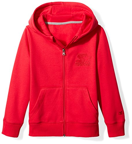 Starter Boys' Zip-Up Embroidered Logo Hoodie, Amazon Exclusive, Team Red, L -