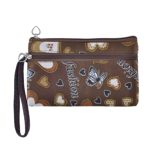 Girls Heart Printed Zip Up Pockets Coin Change Purse Bag w Hand Strap