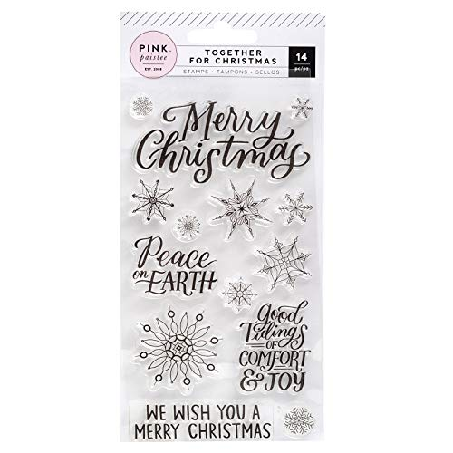 Pink Paislee 310847 Snowflakes and Words Stamps