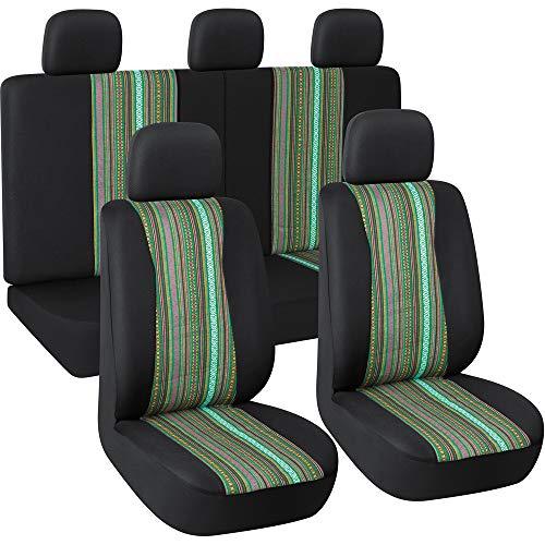 Autojoy Baja Seat Covers, 7pc Stripe Multi-Color Saddle Blanket Weave Universal Bucket Seat Cover Fit for Car,Vans,SUV(Green & Black) ()