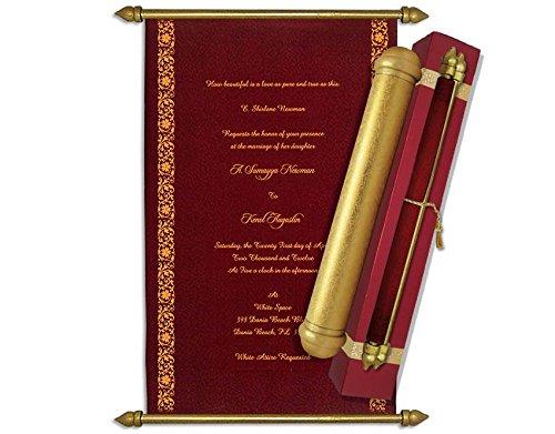 High-end Scroll Wedding Invitations, Birthday/Anniversary Scroll, Wedding Scrolls (Maroon)