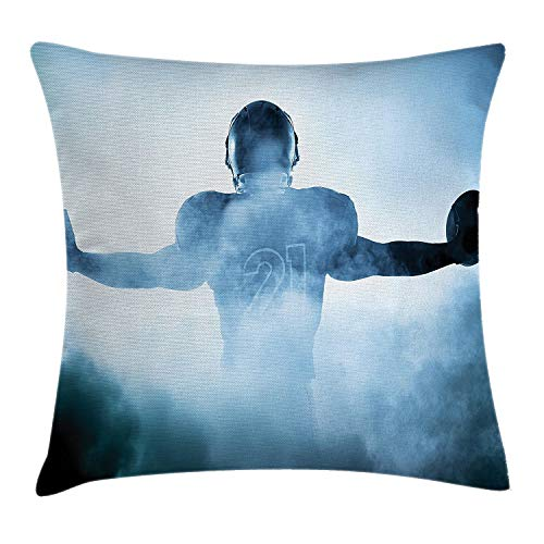 Jidmerrnm Sports Decor Throw Pillow Cushion Cover, Heroic Shaped Rugby Player Shadow Standing in Fog Playground Global Sports Photo, Decorative Square Accent Pillow Case, 18 X 18 Inches, Blue