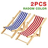 Best unknown Beach Chairs - 2PCS 1:12 Miniature Dollhouse Foldable Wooden Beach Chair Review