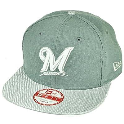 MLB New Era 9Fifty Flash Vize Milwaukee Brewers Snapback Hat Cap Flat Bill Gray