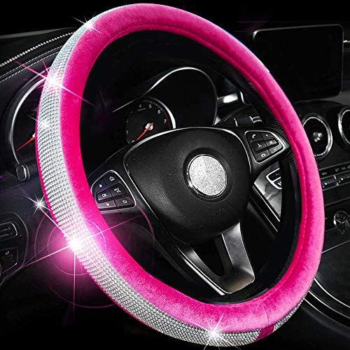Valleycomfy Crystal Diamond Steering Wheel Cover Soft Velvet Feel Bling Steering Wheel Cover for Women Universal 15 inch Plush Wheel Cover (Rose Red)