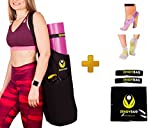 Yoga Mat Bag Set For All Mat Sizes – Premium Carrier With Large Pocket For Towel, Block & Accessories – Bonus 2 x Nonslip Comfy Yoga Socks + 2 x Elastic Mat Strap + eBook about Yoga | by Zendybag Review