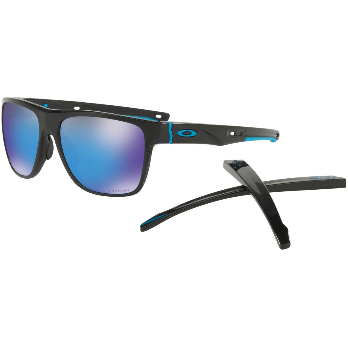 Oakley Men's Crossrange XL Sunglasses, Pol Blk/Przm Sap,OS
