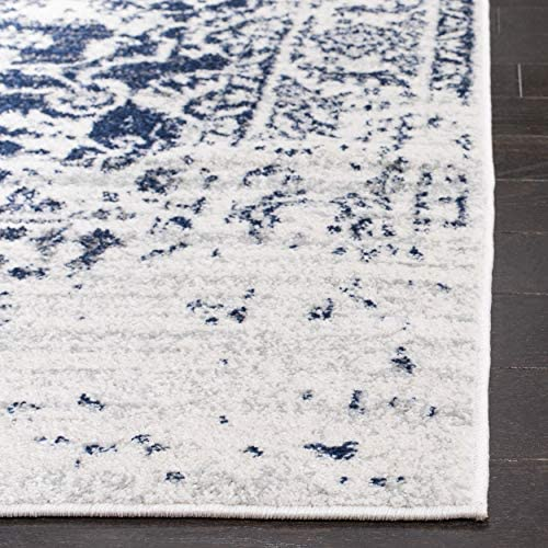 Safavieh Madison Collection MAD603D Cream and Navy Distressed Medallion Area Rug 10' x 14'