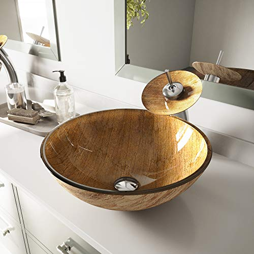 VIGO Amber Sunset Glass Vessel Bathroom Sink and Waterfall Faucet with Pop Up, Chrome