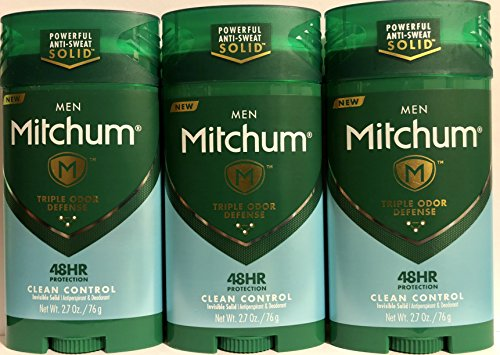 (Mitchum Antiperspirant & Deodorant For Men - Invisible Solid - Clean Control - Net Wt. 2.7 OZ (76 g) Per Stick - Pack of 3 Sticks )
