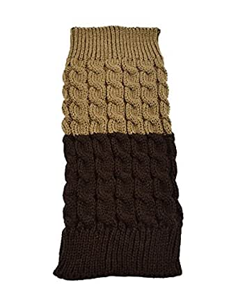 Spring Fever Women's Double Sided Knit Boot Cuffs Leg Warmers(Khaki/Coffee,One Size)